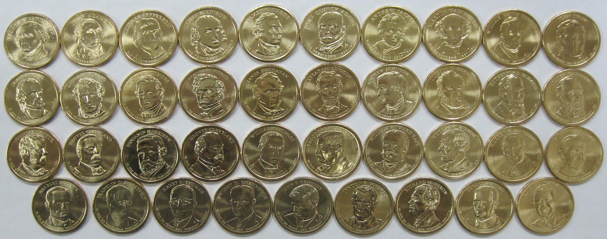 """1$ """"Президенты США""""  39 штук 2007-2016 гг."""