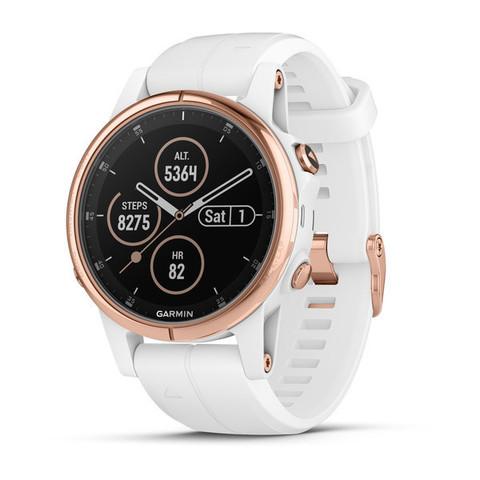 Купить Женские мультиспортивные часы Garmin Fenix 5S Plus Sapphire - розовое золото с белым ремешком 010-01987-07 по доступной цене