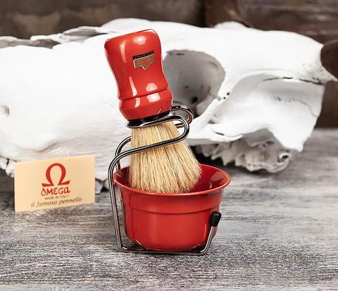 Набор из помазка, подставки и чаши от Omega (красный)