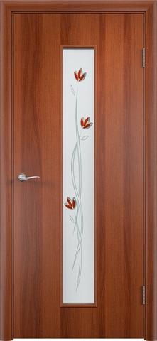 Дверь Верда C-17 (тюльпан), цвет итальянский орех, остекленная