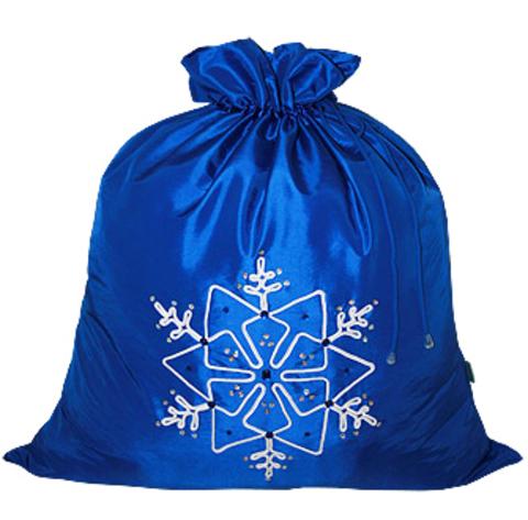 Подарочный мешок Снежинка синий
