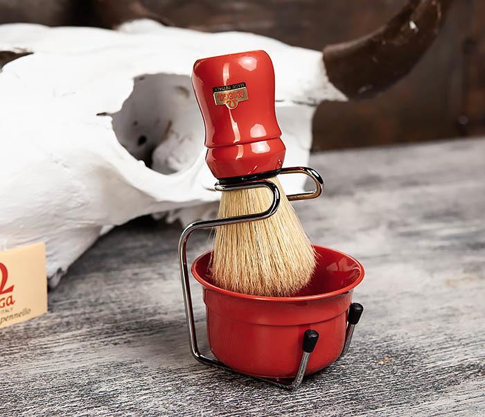 RAZ410-3 Набор из помазка, подставки и чаши от Omega (красный) фото 02