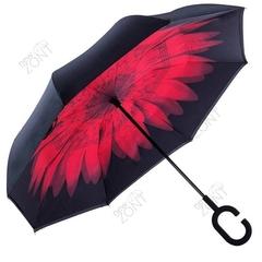 Зонт открывающийся наоборот красная гербера механика