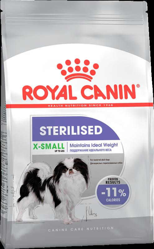 Сухой корм Корм для стерилизованных собак миниатюрных пород, Royal Canin X-Small Sterilised 350005.png