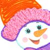 """08_2644 Аппликация из пряжи (с ножницами) """"Снеговик"""""""