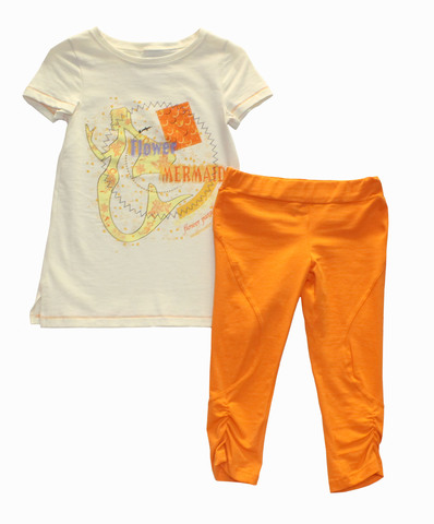 Basia 12-712-017П  Комплект для девочки туника+бриджи  экрю/оранжевый