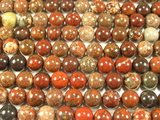 Нить бусин из яшмы маковой, шар гладкий 10мм