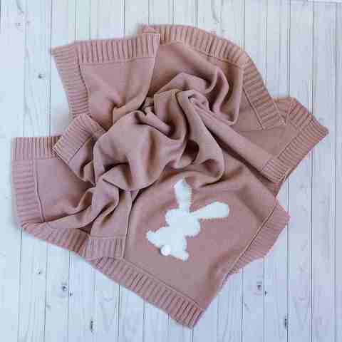 Плед вязаный Зайчик Mari-Knit, 90х90 см, шерсть, пудра