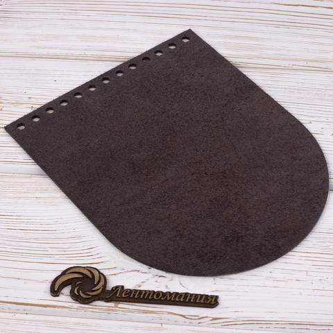 """Клапан для сумочки кожаный """"Черное дерево"""" 19,5 см на 15,5 см"""