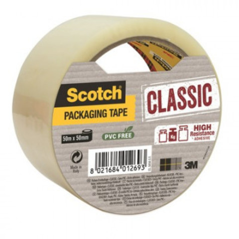 Лента упаковочнаяа Scotch Classic ХОТ МЕЛТ, прозрачная,50ммх50м,43мкм
