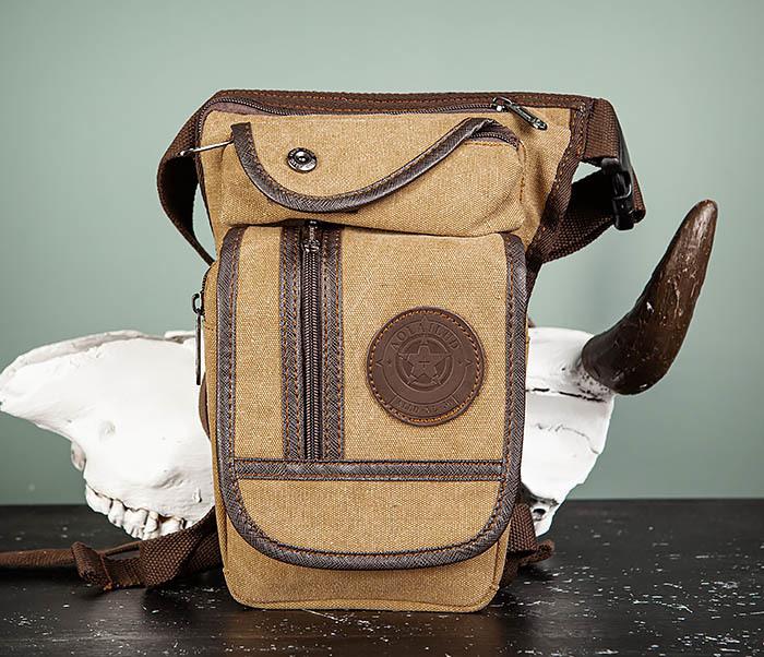 BAG506-2 Текстильная сумка на бедро коричневого цвета