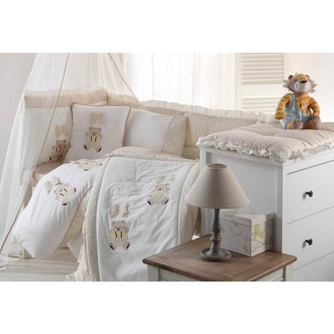 НАБОР Детское постельное белье BEBE бежевый с покрывалом ПИКЕ Gelin home Турция