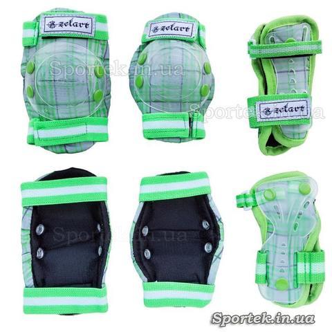 Зелено-белая защита на резинках с липучками для катания детей на велосипедах, роликах, скейтбордах Zelard (Зелард)