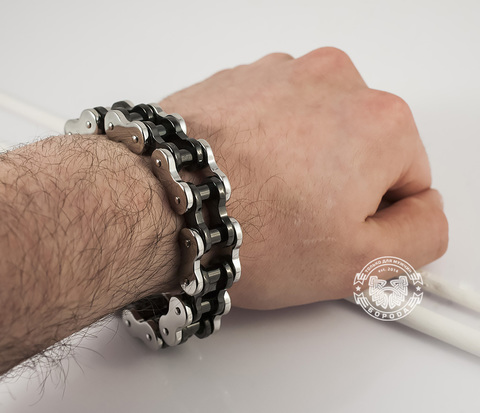 BM350 Тяжелый мужской браслет цепь с черными и серебристыми стальными звеньями