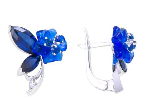Серьги с цветами из синего кварца и сапфиром Арт.2205сс