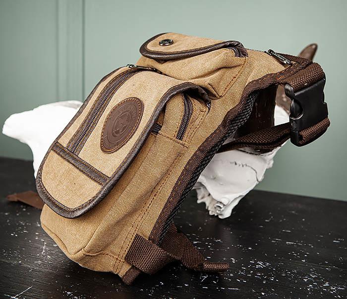 BAG506-2 Текстильная сумка на бедро коричневого цвета фото 04