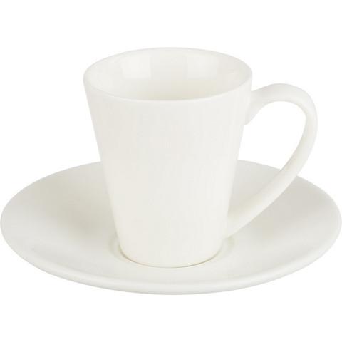 Кофейная пара Wilmax белая, фарфор, чашка 110 мл., блюдце WL-996099/993054