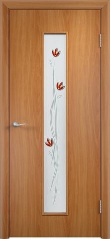 Дверь Верда C-17 (тюльпан), цвет миланский орех, остекленная