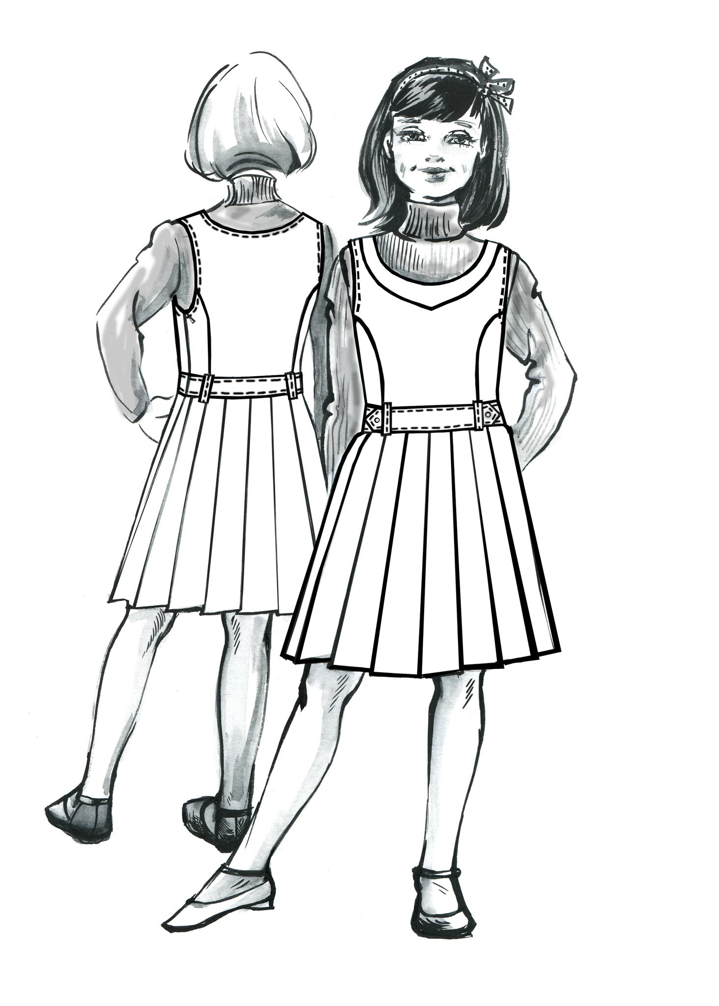 Выкройка школьного сарафана с юбкой в складку и отрезной кокеткой на лифе