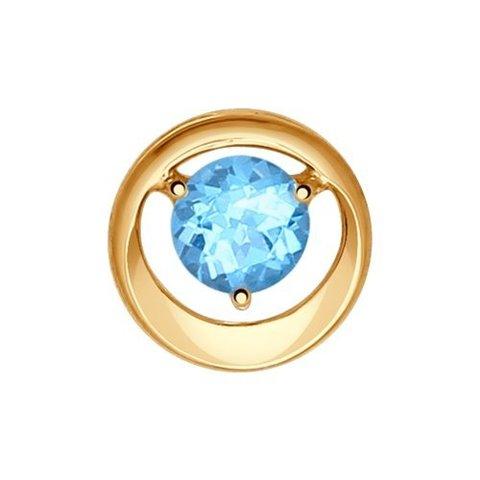 Подвеска -бегунок из золота с голубым топазом