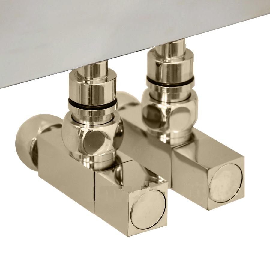 Вентиль квадратный регулировочный прямой цвета бронза.