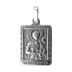 Святой Георгий. Нательная икона посеребренная.