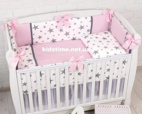 Комплект постельного белья в детскую кроватку ROYAL розовый