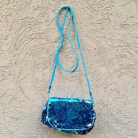 Сумочка-клатч детская с пайетками меняющая цвет Голубой-Серебристый
