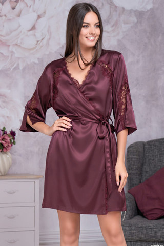 Женский халат кимоно с кружевом бордовый шелковый