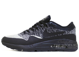 Кроссовки Мужские Nike Air Max 1 Hyper Flyknit  Black Grey White