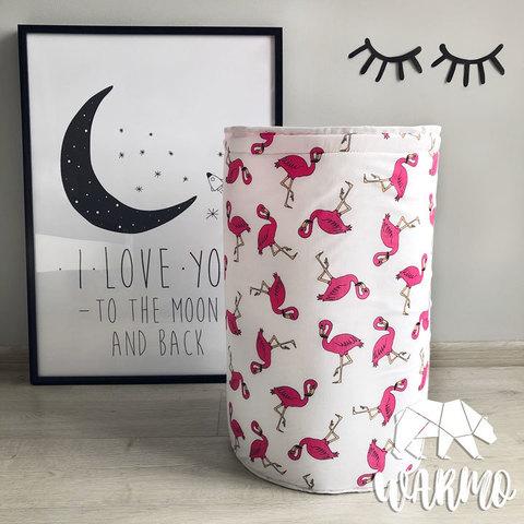 кошик для іграшок з рожевими фламінго фото
