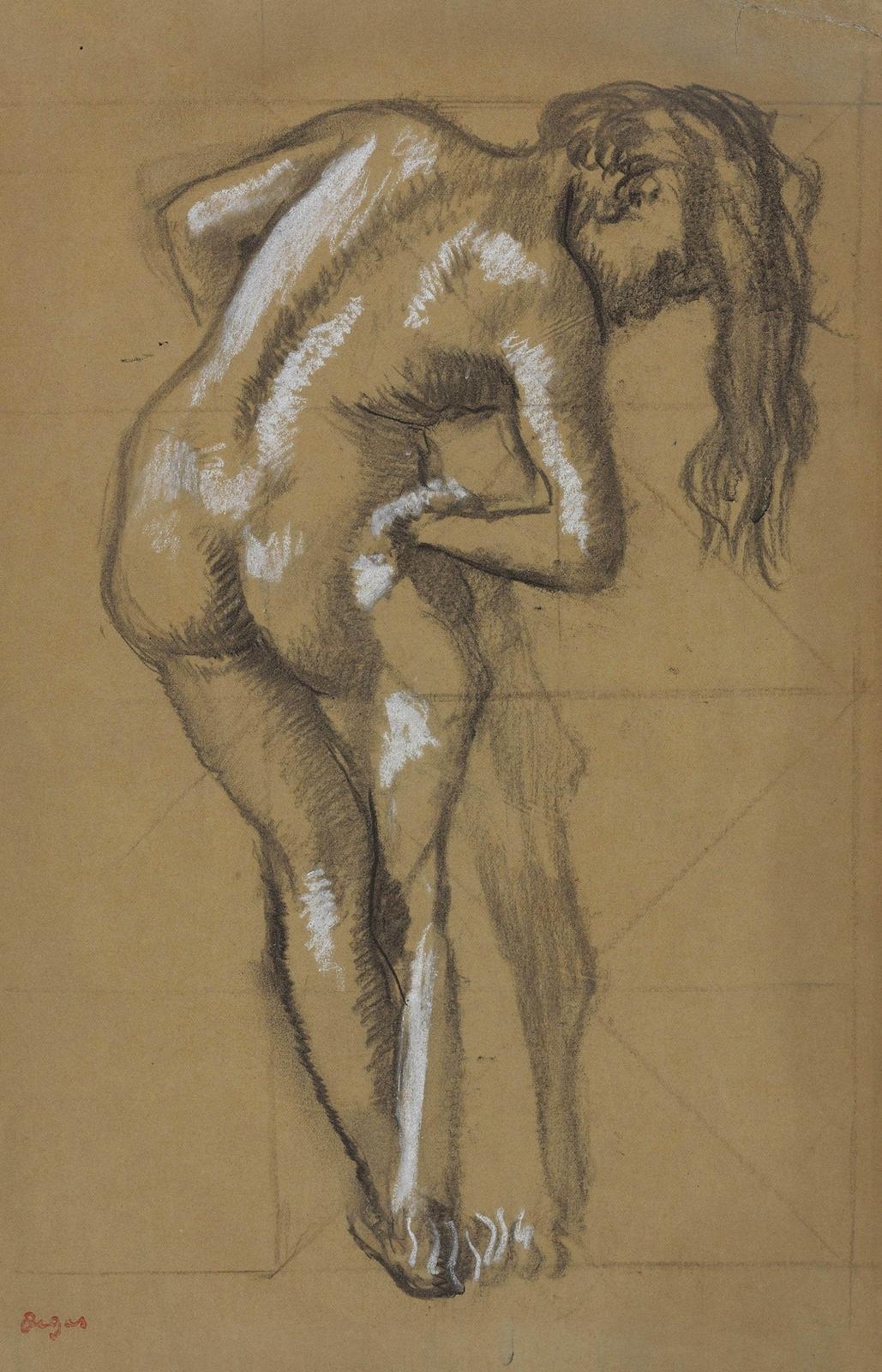 Эдгар Дега. После купания, вытирающаяся женщина (Apres le bain, femme s'essuyant). 41.9 х 26.4. Бумага на картоне, уголь с подмалевком белым. Частная коллекция.