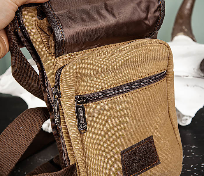 BAG506-2 Текстильная сумка на бедро коричневого цвета фото 08
