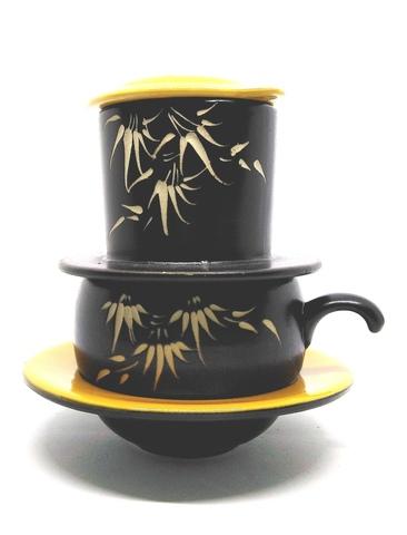 Кофейный набор посуды (пресс-фильтр, чашка, блюдце), желтый.