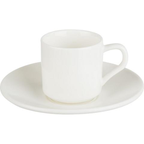Кофейная пара Wilmax белая, фарфор, чашка 90 мл., блюдце WL-993007