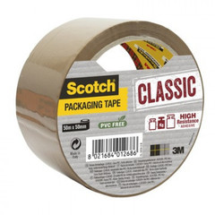 Лента упаковчная Scotch Classic ХОТ МЕЛТ, коричневая,50ммх50м, 43 мкм