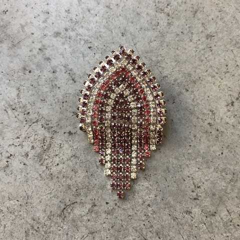 Моносерьга - клипса в форме кокошника розовая, мини