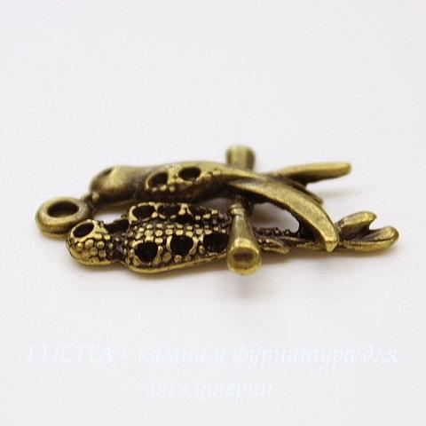 "Подвеска  ""Пара птичек"" (цвет - античная бронза) 24х16 мм"