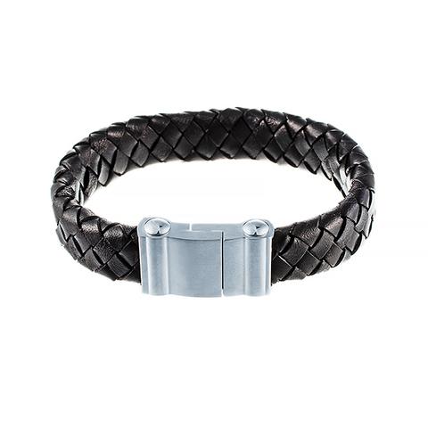 Стильный плетёный плоский кожаный чёрный браслет 232-0111 в подарочной упаковке