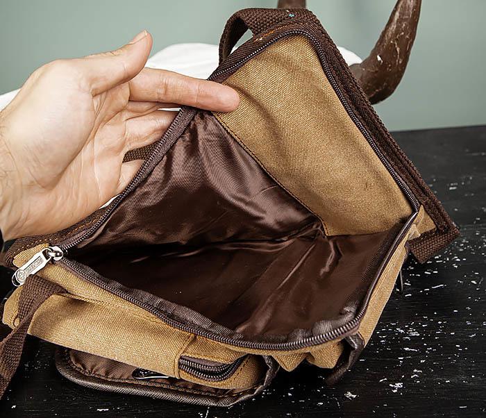 BAG506-2 Текстильная сумка на бедро коричневого цвета фото 11