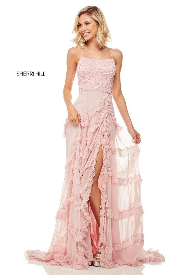 Sherri Hill 52805  Длинное платье в пол с кружевным лифом и разрезом по ноге