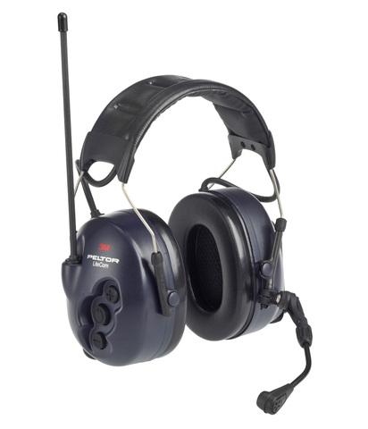 Активные наушники LiteCom, микрофон на жёсткой штанге, стандартное оголовье, тёмно-синие чашки