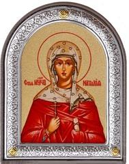 Наталия Никомидийская Святая мученица. Маленькая икона в серебряной раме.