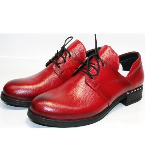 Красные туфли на низком каблуке. Женские туфли дерби Marani Magli на 2tufli.com.ua