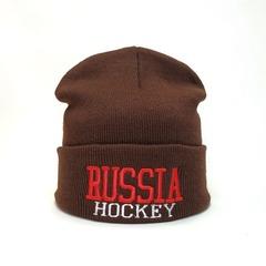 Вязаная шапка Русский хоккей (Russia hockey) коричневая