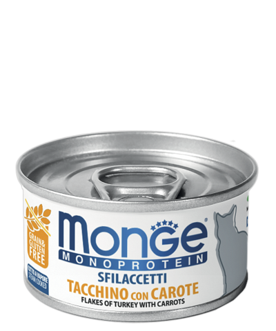 Влажный корм (банка) Monge Monoprotein Adult Cat Tacchino con Carote Turkey with Carrots