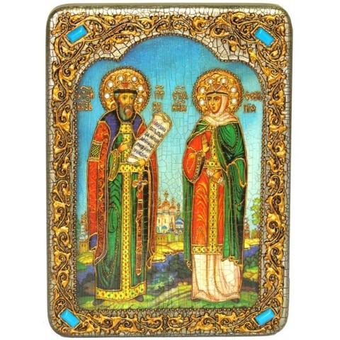 Инкрустированная рукописная икона Петр и Февронья 29х21см на натуральном дереве в подарочной коробке