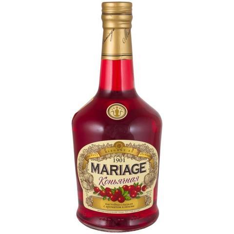 Настойка сладкая Марьяж коньячная с ароматом клюквы 0,5 л (12)