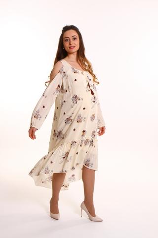 Платье 08702 бежево-коричневый
