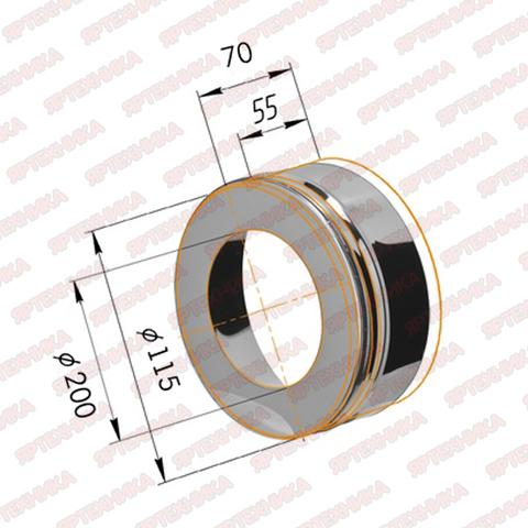 Заглушка с отверстием d115х200мм (430/0,5мм) Ferrum